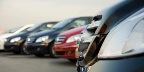 Cars on dealership lot