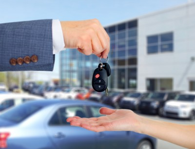 car keys and salesperson