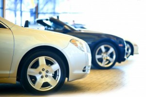 cars on dealership showroom
