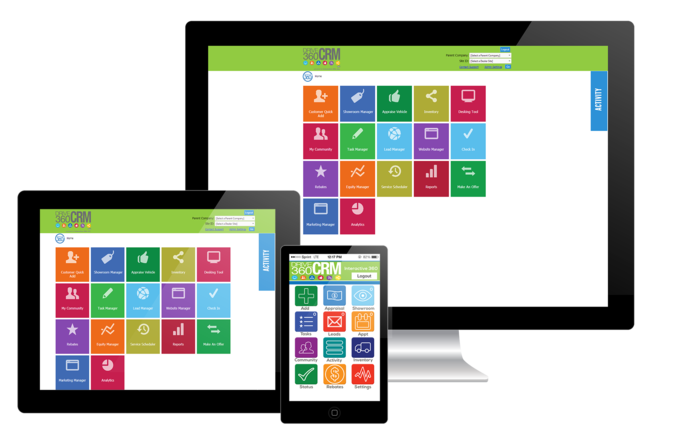 Dealer Communications CRM Home Screens