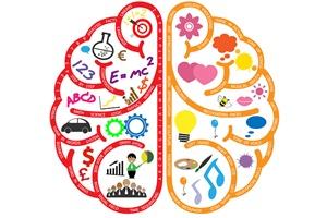Creative left and right brains Idea concept .vector illustration