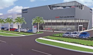 Qvale Auto Group's four-story, 158,000-square-foot Audi dealership in Fort Lauderdale, Fla., is expected to be completed in August. Its business development center will be on the mezzanine, overlooking the showroom, in an effort to create excitement.